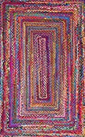 Cotton rectangle multicolored hand braided living room area rug designer cotton rug (270X360 cm)