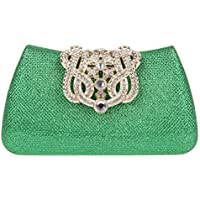 Fawziya Butterfly Clutch Crystal Velvet Clutches & Evening Bags-Green