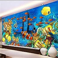 Wxmca 写真の壁紙3Dステレオ漫画熱帯魚水中世界の壁画の壁紙カスタム不織布壁紙3D-400X280Cm