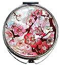 桜(さくら) の螺鈿(らでん)の金属デュアルコンパクトな折りたたみと拡大の化粧鏡 白灰色 並行輸入品
