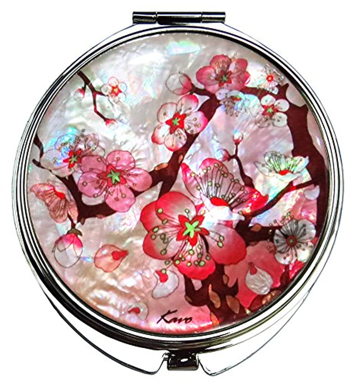 貧困同行する付録桜(さくら) の螺鈿(らでん)の金属デュアルコンパクトな折りたたみと拡大の化粧鏡 白灰色 [並行輸入品]