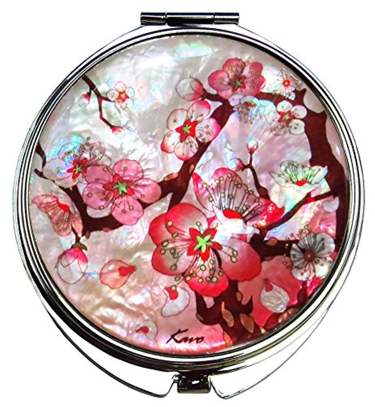 コンテンポラリー磁石ウェイトレス桜(さくら) の螺鈿(らでん)の金属デュアルコンパクトな折りたたみと拡大の化粧鏡 白灰色 [並行輸入品]