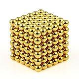 OMO Magnetics 【世界最強マグネット】 強力磁石 強力マグネット 立体パズル ボール 球形 直径4mm N42 ネオジム ネオジウム ニッケルメッキ 専用ケース付き 216個セット(金色)