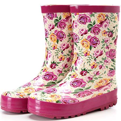 Hellozebra 子供用レインブーツ 磁器風長靴 - 高品質の天然ゴム製,軽量,快適,耐滑 16.5cm ピンク
