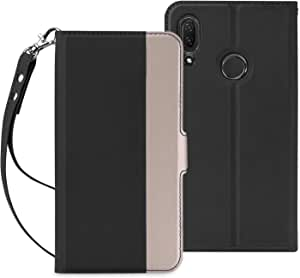 HUAWEI nova lite 3ケース SHINEZONE HUAWEI nova lite 3 手帳型 超耐磨高級PUレザー スタンド機能付き ストラップ付き 財布型 ケース (Huawei P Smart 2019ケース ブラック)