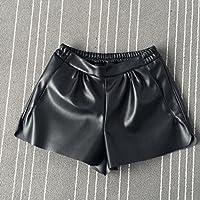 Summer Women Elastic Waist PU Leather Black Shorts Female Celebrity Same Loose