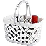 UUJOLY Plastic Organizer Storage Baskets with Handles, Bins Organizer for Bathroom and Kitchen(White)