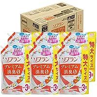 【ケース販売 大容量】ソフラン プレミアム消臭 柔軟剤 アロマソープの香り 詰め替え 1350ml×6個