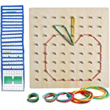 JCREN Wooden Geoboard 8x8 Mathematical Manipulative Material Array Block Geo Board Graphical Educational Toys with Pattern Fl