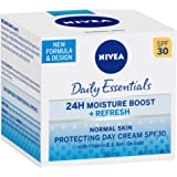 NIVEA Daily Essentials 24 Hour Moisture Boost, Refreshing & Protecting Day Cream SPF 30 with Vitamin E & Anti-Oxidants for al