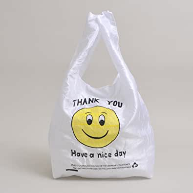 LAUREN DICIOCCIO(ローレン ディチョッチョ)/SMILEY FACE TOTE ナイロントート ショッピングバッグ エコバッグ thank you bag レジ袋 レプリカ 刺繍 エコバッグ