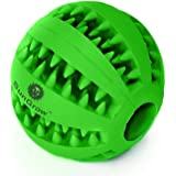 SunGrow Dental Chew Treat Ball For Dogs, Interactive Pet Training Toy, Durable, Rubber Tooth Cleaning Toy, Boredom Buster & F