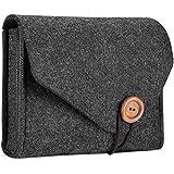 ProCase フェルト 収納ケース バッグ ポータブル トラベル 電気製品 アクセサリー 整理 ポーチ MacBook ラップトップ マウス 電源アダプタ ケーブル パワーバンク 携帯電話 アクセサリー 充電器 SSD HHD –ブラック