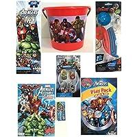 Marvel Avengers BoysイースターバスケットinジャンボPail – Puch Ballon、パズル、犬タグ。カラーリングアクティビティBook ,クレヨン、Grab and Go Playパック