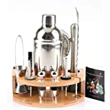 ADTZYLD Cocktail Shaker Set Bartender Kit,Bar Set with Bamboo Stand 12 Piece Bartending Tools 25 oz Professional Stainless St