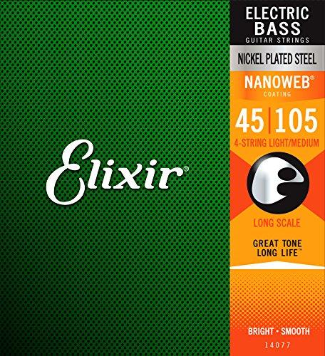 Elixir エリクサー ベース弦 NANOWEB ニッケル Long Scale Light/Medium .045-.105#14077 【国内正規品】