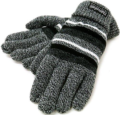 (シンサレート) Thinsulate 手袋 メンズ ニット グローブ ボーダー 高機能中綿素材 5color (Free, ダークグレイ)