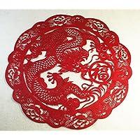 切り絵・中国民間芸術切り紙細工 (龍福柄)