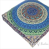 """EYES OF INDIA - 35"""" Blue White Oversized Large Floor Pillow Cover Pouf Meditation Cushion Seating Mandala Square Hippie Color"""
