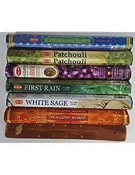 歴代最も人気があったHEMのお香6種類、各20本、計120本、無料の台付属 - Dragon's Blood、Frankincense & Myrrh、Patchouli、Precious Lavender、First...