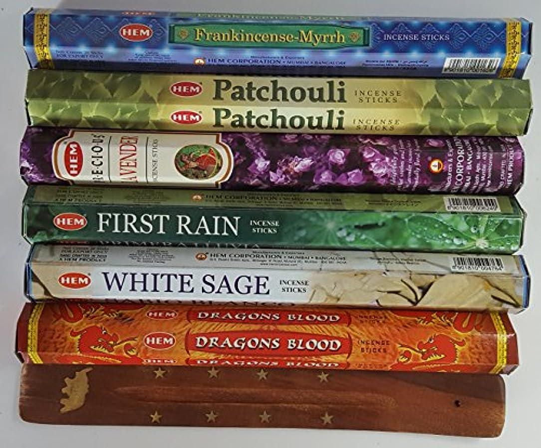 リクルート期限アウトドア歴代最も人気があったHEMのお香6種類、各20本、計120本、無料の台付属 - Dragon's Blood、Frankincense & Myrrh、Patchouli、Precious Lavender、First...