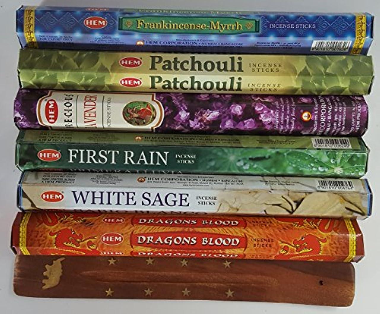 ホストロードブロッキングアリーナ歴代最も人気があったHEMのお香6種類、各20本、計120本、無料の台付属 - Dragon's Blood、Frankincense & Myrrh、Patchouli、Precious Lavender、First...