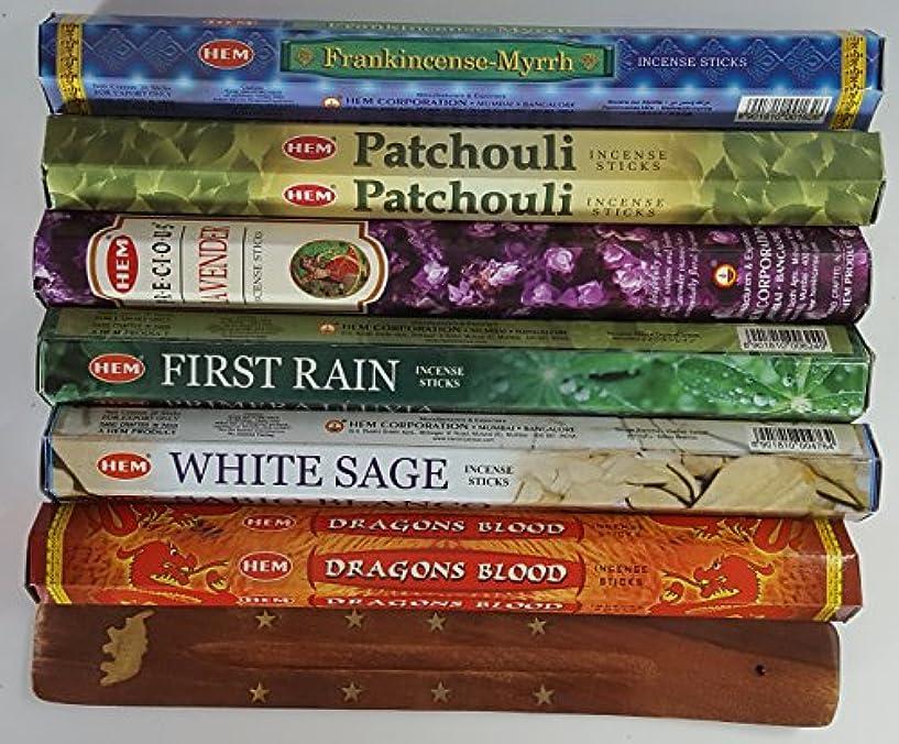 目立つ変形祖父母を訪問歴代最も人気があったHEMのお香6種類、各20本、計120本、無料の台付属 - Dragon's Blood、Frankincense & Myrrh、Patchouli、Precious Lavender、First...