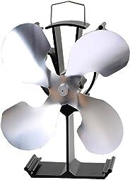 石油/木材暖炉用の4ブレード熱供給式ストーブファン - 環境にやさしい(シルバー)