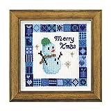 オリムパス製絲 クロスステッチ 刺しゅうキット クリスマス スノーマン ミニ額付き オフホワイト X-81