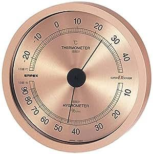 エンペックス気象計 温度湿度計 スーパーEX 高品質温湿度計 壁掛け用 日本製 シャンパンゴールド EX-2728
