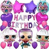 誕生日パーティー飾り付け Lolサプライズ 可愛い人形 女の子 子供 ホットピンク パープル スター ハート 100日 半歳 1歳 誕生日飾り イベント飾り 部屋装飾