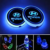 STORE-OK 2PCS Universal LED Car Cup Holder Lights, 7 Colors Changing USB Charging Mat Luminescent Cup Pad,LED Car Interior At