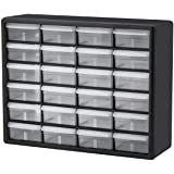Akro-Mils 10124 24 Drawer Plastic Parts Storage Hardware and Craft Cabinet, 20-Inch x 16-Inch x 6.5-Inch, Black, Gray case wi
