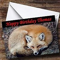 Resting Fox Personalized Birthday Greetingsカード