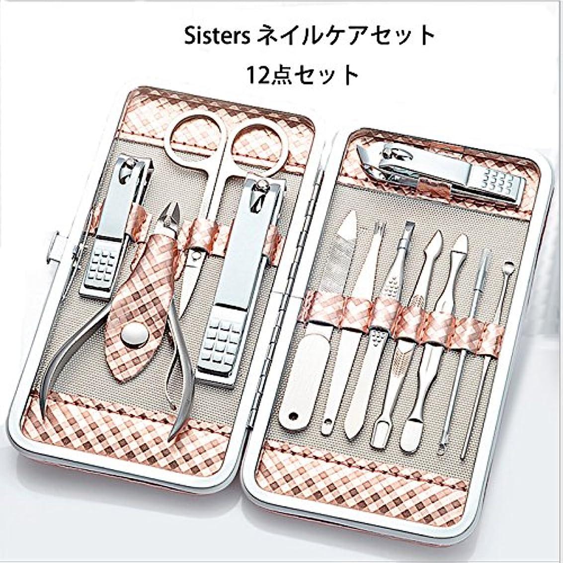安心セミナー優れました爪切りセット Sisters ネイルケアセット 12点セット 手足爪磨き甘皮処理 ステンレス製 収納ケース付き 携帯便利 旅行用 家庭用 贈り物