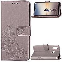 携帯電話ケース, エンボスラッキーフラワーフォーリーフクローバーデザインPUレザーフリップウォレットケース、手首ストラップ付き、Huawei P20 Lite (色 : グレー)