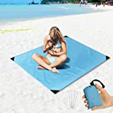 """Freeasy Beach Blanket Sand Proof and Waterproof Pocket Sized Picnic Mat 55"""" X 43"""" - Quick Drying Nylon - Best Outdoor Blanket"""