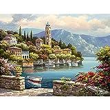 Demiawaking 新しい数字で手書きデジタル油絵キャンバス DIY 数字油絵 塗り絵 キット?美しい田舎