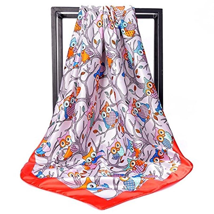 苛性合体ネコCATYAA スカーフプリントシルクスカーフスクエアスカーフヒジャブスカーフ女性レディースガールズ (Color : レッド, サイズ : 90 * 90cm)