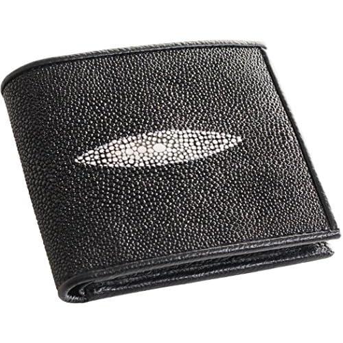 折り財布 レディース 2つ折り エイ革 スティングレイ レザー ブラック