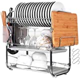 LWBIGHOME 3 Layer Dish Drainer Dish Drying Rack Kitchen Chrome Alloy Cutlery Holder Drip Over Sink Storage Tool