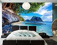Yosot カスタムの壁紙に設定するには、熱帯地方の海岸のボート海の巨岩自然の壁紙、テレビの背景リビングルームベッドルームレストラン 3dフォトの壁画がある。-250cmx175cm