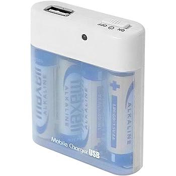 エアージェイ 単三乾電池式 800mA 4本タイプ充電器 USB出力付き ホワイト BJ-USB