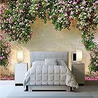 Mingld カスタム壁画壁紙3Dローズ牧歌的な壁絵画リビングルームの寝室のテーマホテルの背景壁の装飾ロマンチックな3D壁紙-200X140Cm