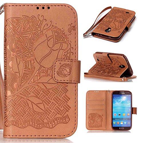 Samsung Galaxy S4 Mini 対応 手帳型 ケース CUSKING おしゃれ エンボス かわいい 無地 全面保護 ケース ギャラクシ S4 Mini 手帳ケース 衝撃吸収 耐衝撃 ストラップ付き マグネット式 フリップ 財布型 カード - ブラウン 花柄