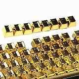 e元素104キーゴールドキーキャップセット Cherry MX軸メカニカルキーボード交換用キートップ ダブルショットインジェクションバックライトキーキャップ 87キー兼用 引抜工具付(ゴールド) [並行輸入品]