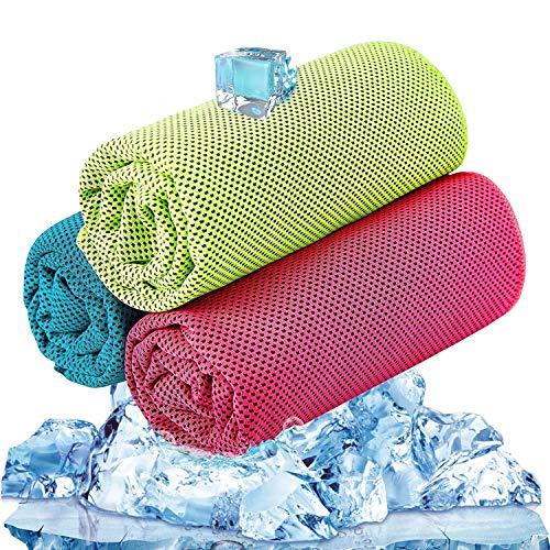 BESROY クールタオル 超冷感 スポーツタオル 速乾タオル 超吸水 軽量 熱中症対策 100×30cm 冷却タオル (3セット) 防水袋付き