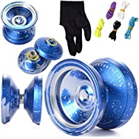 XCSOURCE Unresponsive M002 Magic YOYO Alloy Aluminum Yo Yo Bearing Reel + 5 Strings + Glove (color: blue and silver) TH110 [並行輸入品]