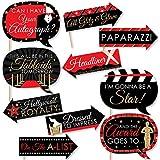 面白いレッドカーペット ハリウッド – ムービーナイトパーティー写真ブース小道具キット – 10ピース