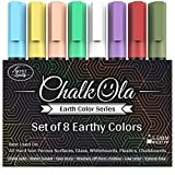 Chalkboard Chalk Markers - Pack of 8 Classic Earth Color pens | Dust Free Water-Based Non-Toxic | Wet Erase Chalk Ink Pen - 6mm Reversible Bullet & Chisel Tip